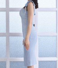 画像7: [韓国製][rinfarre]ライトブルー・肩リボン・ライトツイード・コルセット風・タイト・ミディアムドレス・ワンピース[MIRIN着用][送料無料] (7)