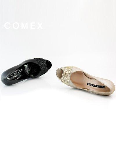 画像2: [一部予約販売][COMEX 日本製]オープントゥー・ラメライン・ストーン入りピンヒール・パンプス《送料&代引き手数料無料》
