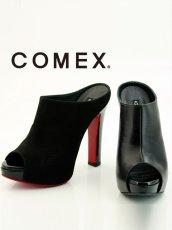 画像1: [一部予約販売][COMEX 日本製]ハイヒール・ピンヒール・ブラック・ミュール・サボ・サンダル《送料&代引き手数料無料》 (1)