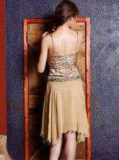画像3: [ERUKEI][山崎みどり着用]ゴールド・ビーズ・スパン・シルク・ミディアムドレス・ワンピース[送料無料] (3)