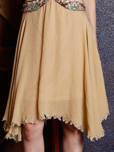 画像2: [ERUKEI][山崎みどり着用]ゴールド・ビーズ・スパン・シルク・ミディアムドレス・ワンピース[送料無料]