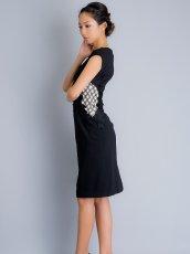 画像2: [SALE品のため返品不可][ERUKEI]チェック柄×ケミカルレース・フレンチスリーブ・タイト・ミディアムドレス・ワンピース (2)