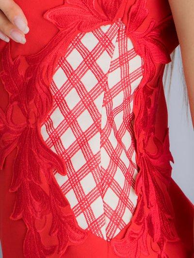 画像2: [SALE品のため返品不可][ERUKEI]チェック柄×ケミカルレース・フレンチスリーブ・タイト・ミディアムドレス・ワンピース
