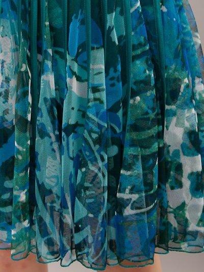 画像1: [ERUKEI][山崎みどり・薗田杏奈着用]立体斜線・ノースリーブ・プリント柄・4色カラー・Aライン・フレア・Vネック・ミニドレス・ワンピース【mrg-ayp】[送料無料]