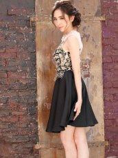 画像2: [SALE品のため返品不可&再入荷なしの現品限り][ERUKEI][山崎みどり着用][姉ageha]フロント金糸刺繍MIX・ヌーディー・シースルー・ノースリブ・フレア・Aライン・ミニドレス・ ワンピース【mall】 (2)