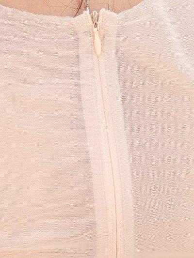 画像2: [SALE品のため返品不可&再入荷なしの現品限り][ERUKEI][山崎みどり着用][姉ageha]フロント金糸刺繍MIX・ヌーディー・シースルー・ノースリブ・フレア・Aライン・ミニドレス・ ワンピース【mall】