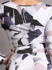 画像7: [ERUKEI][山崎みどり着用][姉ageha]ホワイト×グレー系・ジオメトリック柄・長袖・Vネック・ミニドレス・ワンピース[送料無料]m_ (7)