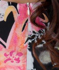 画像8: [ERUKEI]ブラックベース・ストレッチ・花柄・長袖・タイト・ミニドレス・ワンピース[山崎みどり着用][送料無料] (8)