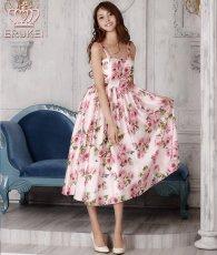 画像1: [SALE品のため返品不可&再入荷なしの現品限り][ERUKEI][関あいか着用]Aライン・花柄・ピンク系・フレア・サテン・ノースリーブ・ミディアムドレス (1)