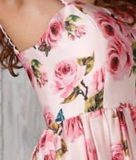 画像7: [SALE品のため返品不可&再入荷なしの現品限り][ERUKEI][関あいか着用]Aライン・花柄・ピンク系・フレア・サテン・ノースリーブ・ミディアムドレス (7)