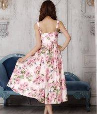 画像3: [SALE品のため返品不可&再入荷なしの現品限り][ERUKEI][関あいか着用]Aライン・花柄・ピンク系・フレア・サテン・ノースリーブ・ミディアムドレス (3)