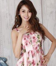画像5: [SALE品のため返品不可&再入荷なしの現品限り][ERUKEI][関あいか着用]Aライン・花柄・ピンク系・フレア・サテン・ノースリーブ・ミディアムドレス (5)