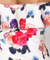 画像14: [SALE品のため返品不可&再入荷なしの現品限り][ERUKEI][関あいか・若尾綾香着用]オフショルダー・花柄プリント・タイト・ミディアムドレス・ワンピース (14)