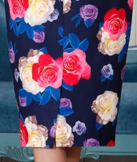 画像15: [SALE品のため返品不可&再入荷なしの現品限り][ERUKEI][関あいか・若尾綾香着用]オフショルダー・花柄プリント・タイト・ミディアムドレス・ワンピース (15)