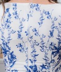 画像11: [ERUKEI]ホワイトベース・ブルー花柄・ノースリーブ・Aライン・フレア・ミディアムドレス・ワンピース[山崎みどり着用][送料無料]mypr (11)