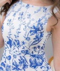 画像9: [ERUKEI]ホワイトベース・ブルー花柄・ノースリーブ・Aライン・フレア・ミディアムドレス・ワンピース[山崎みどり着用][送料無料]mypr (9)