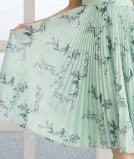画像12: [ERUKEI]グリーン・ノースリーブ・花柄・プリーツ・Aライン・ミディアムドレス・ワンピース[MIRIN着用][送料無料] (12)