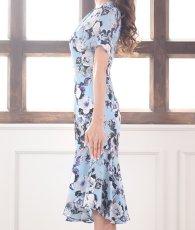 画像8: [ERUKEI]ブルーベース・花柄・半袖・マーメイドライン・上品・ミディアムドレス・ワンピース[山崎みどり着用][送料無料]mylu (8)