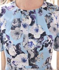 画像10: [ERUKEI]ブルーベース・花柄・半袖・マーメイドライン・上品・ミディアムドレス・ワンピース[山崎みどり着用][送料無料]mylu (10)