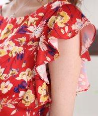 画像11: [ERUKEI]オレンジイエロー・花柄・袖フリル・ウエスト切り替え・Aライン・フレア・ミディアムドレス・ワンピース[山崎みどり着用][送料無料]my (11)