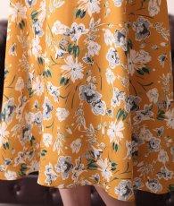 画像13: [ERUKEI]オレンジイエロー・花柄・袖フリル・ウエスト切り替え・Aライン・フレア・ミディアムドレス・ワンピース[山崎みどり着用][送料無料]my (13)