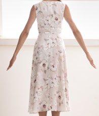 画像8: [ERUKEI]ピンク系・花柄・プリント・ウエスト切り替え・ノースリーブ・Aライン・フレア・ミディアムドレス・ワンピース[山崎みどり着用][送料無料] (8)