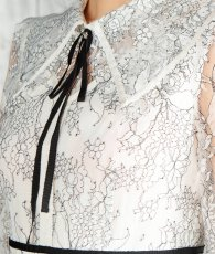 画像9: [ERUKEI]ホワイト・総レース・長袖・リボンポイント・ミディアム丈・フレア・Aライン・襟・ミディアムドレス・ワンピース[黒木麗奈着用]《送料&代引き手数料無料》 (9)