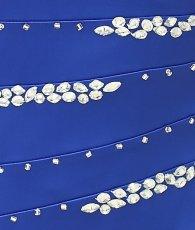 画像11: [SALE品のため返品不可&再入荷なしの現品限り][Glitter]ブルー・胸元レース・フリル裾・ビジュー・ベア・タイト・ミニドレス・ワンピース[青山めぐ着用] (11)