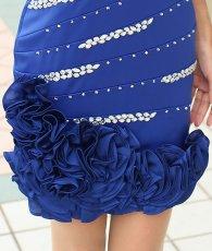 画像12: [SALE品のため返品不可&再入荷なしの現品限り][Glitter]ブルー・胸元レース・フリル裾・ビジュー・ベア・タイト・ミニドレス・ワンピース[青山めぐ着用] (12)