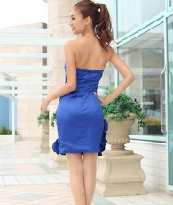 画像3: [SALE品のため返品不可&再入荷なしの現品限り][Glitter]ブルー・胸元レース・フリル裾・ビジュー・ベア・タイト・ミニドレス・ワンピース[青山めぐ着用] (3)