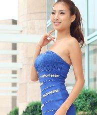画像5: [SALE品のため返品不可&再入荷なしの現品限り][Glitter]ブルー・胸元レース・フリル裾・ビジュー・ベア・タイト・ミニドレス・ワンピース[青山めぐ着用] (5)