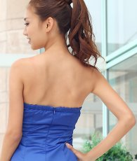 画像6: [SALE品のため返品不可&再入荷なしの現品限り][Glitter]ブルー・胸元レース・フリル裾・ビジュー・ベア・タイト・ミニドレス・ワンピース[青山めぐ着用] (6)