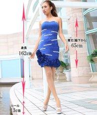 画像7: [SALE品のため返品不可&再入荷なしの現品限り][Glitter]ブルー・胸元レース・フリル裾・ビジュー・ベア・タイト・ミニドレス・ワンピース[青山めぐ着用] (7)