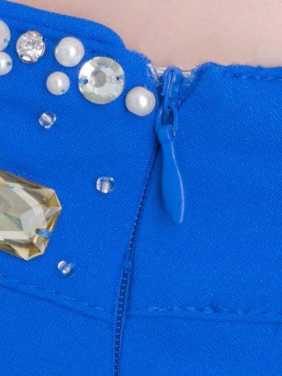 画像1: [SALE品のために返品不可][ERUKEI][山崎みどり着用]ブルー・ワンショルダー・クリアビジュー&パール・タイト・ミニドレス