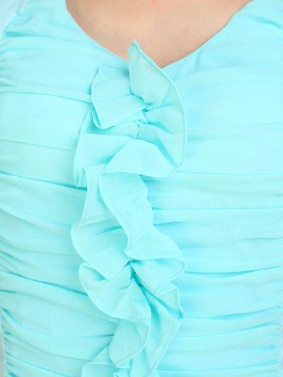 画像1: [SALE品のため返品不可&再入荷なしの現品限り][ERUKEI][山崎みどり着用]ネオンカラー・ライトブルー・シャーリング・タイトミニドレス・ワンピース