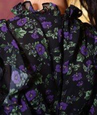 画像11: [ERUKEI]ブラック・パープルパンジー・花柄・ティアードフリル・Aライン・レースポイント・ミディアムドレス・ワンピース[黒木麗奈着用]《送料&代引き手数料無料》 (11)