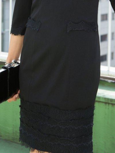 画像3: [SALE品のため返品不可&再入荷なしの現品限り][ERUKEI][神田咲実着用]ブラック・裾レース・七分袖・シンプル・ミニドレス・ワンピース