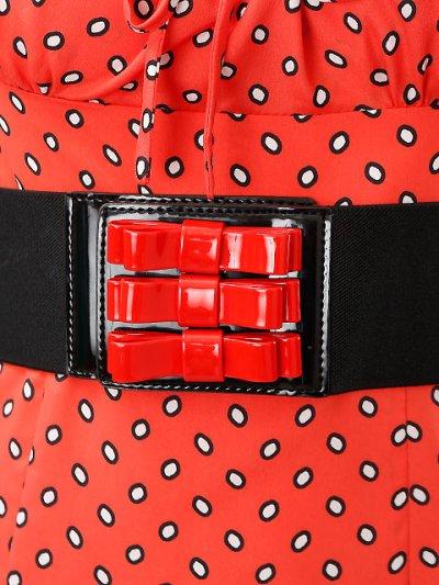 画像2: [SALE品のため返品不可][ERUKEI][山崎みどり着用デコルテリボン・胸元リボン・ドット・タイト・ベルト付・ミニドレス・ワンピース[mlu]