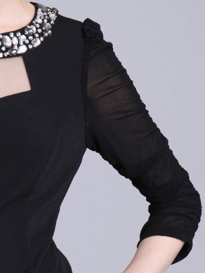 画像3: [SALE品のために返品不可][ERUKEI][山崎みどり着用]七分袖・胸開き・ネックビジュー・ストレッチ・ミニドレス・ワンピース[送料無料]myl