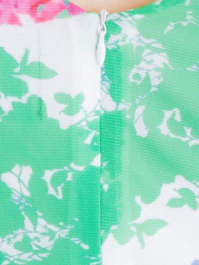 画像1: [SALE品のため返品不可&再入荷なしの現品限り][ERUKEI][山崎みどり着用]グリーン×花柄・Vネック・フレンチスリーブ・タイト・ミニドレス・ワンピース