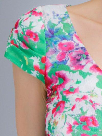 画像2: [SALE品のため返品不可&再入荷なしの現品限り][ERUKEI][山崎みどり着用]グリーン×花柄・Vネック・フレンチスリーブ・タイト・ミニドレス・ワンピース