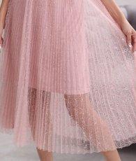 画像12: [ERUKEI Settan]ピンクレース・半袖・プリーツ・Aライン・ミディアムドレス・ワンピース[山崎みどり着用]《送料&代引き手数料無料》 (12)