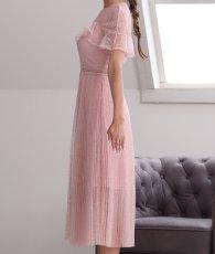 画像7: [ERUKEI Settan]ピンクレース・半袖・プリーツ・Aライン・ミディアムドレス・ワンピース[山崎みどり着用]《送料&代引き手数料無料》 (7)