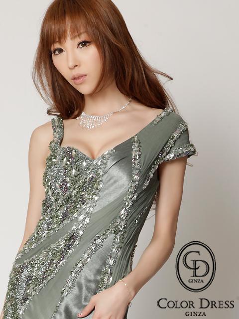 画像4: [人気沸騰中!!再入荷][山崎みどりちゃん着用][グリーン][ピンク][ERUKEI]超豪華ビーズ・肩袖・上品エレガント高級ロングドレス《送料&代引き手数料無料》