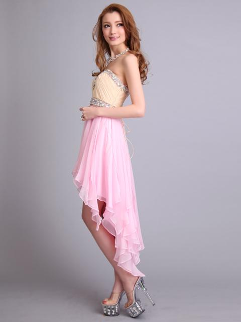 画像2: [Angel R][山崎みどり着用]ベージュ×パステル・オーロラストーン・アシメントリー裾・ミニドレス《送料&代引き手数料無料》