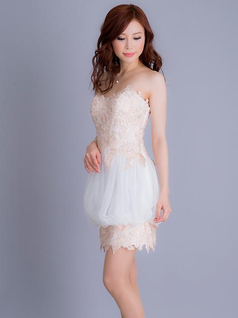 画像2: [Angel R][立石なみちゃん着用]バルーンスカート・ベア・チュール・ピンクベージュレース・ミニドレス《送料&代引き手数料無料》