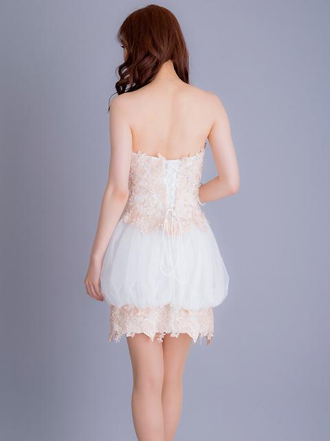 画像3: [Angel R][立石なみちゃん着用]バルーンスカート・ベア・チュール・ピンクベージュレース・ミニドレス《送料&代引き手数料無料》