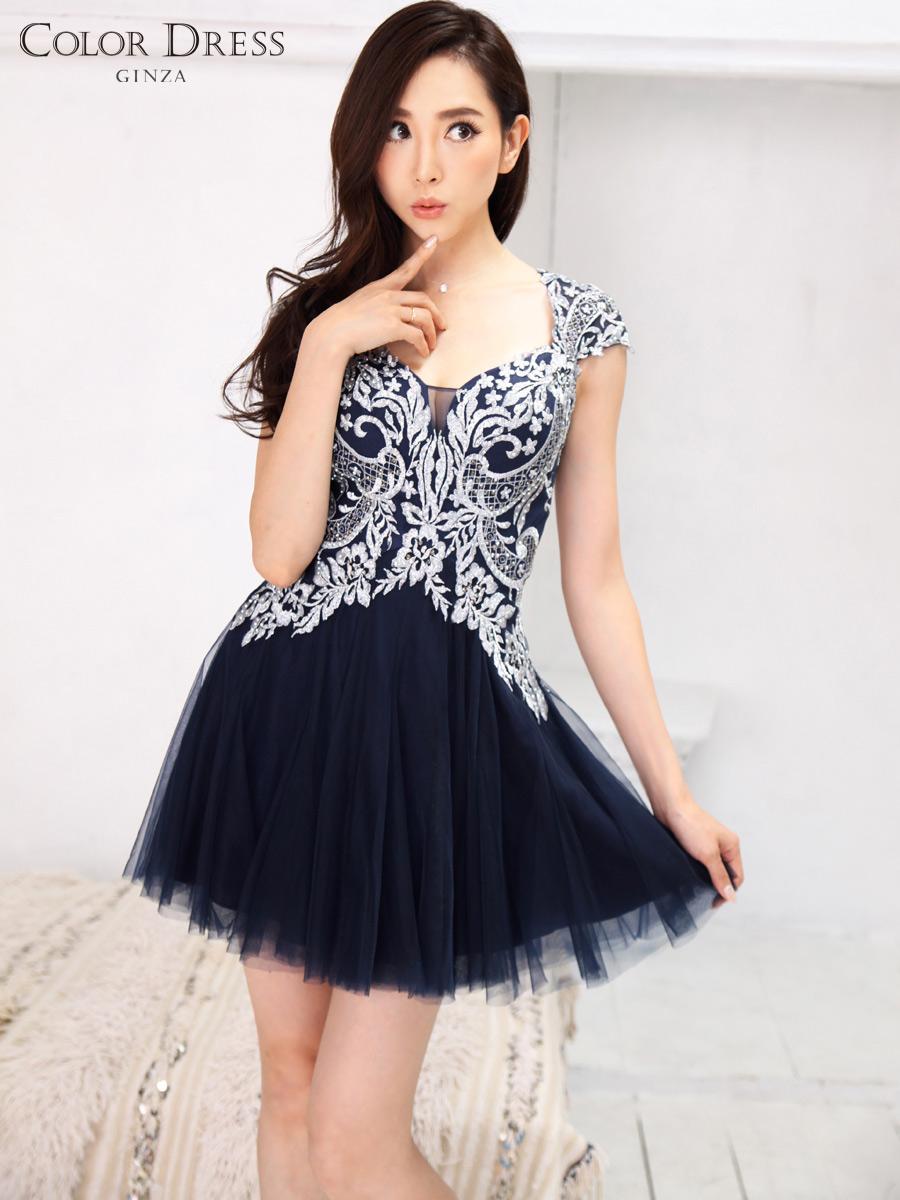 画像1: [Angel R][山崎みどり着用][姉ageha]ネイビー×シルバー刺繍・半袖・胸元開き・フレア・チュール・ミニドレス《送料&代引き手数料無料》