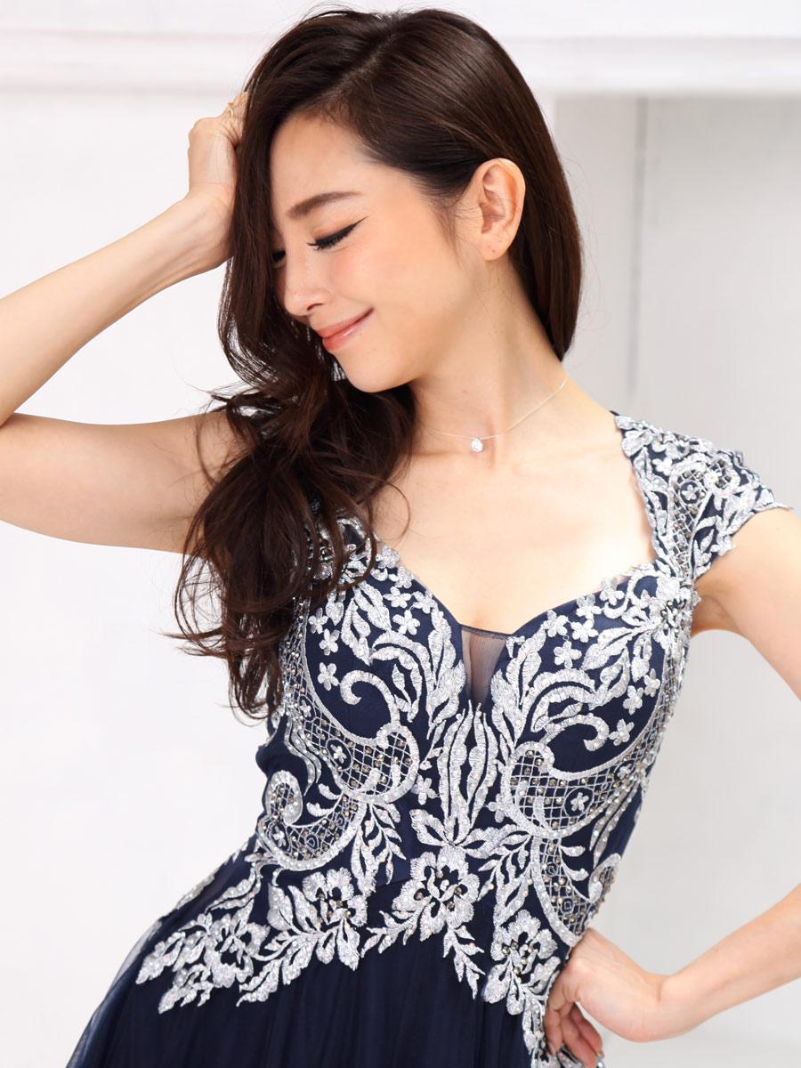 画像4: [Angel R][山崎みどり着用][姉ageha]ネイビー×シルバー刺繍・半袖・胸元開き・フレア・チュール・ミニドレス《送料&代引き手数料無料》