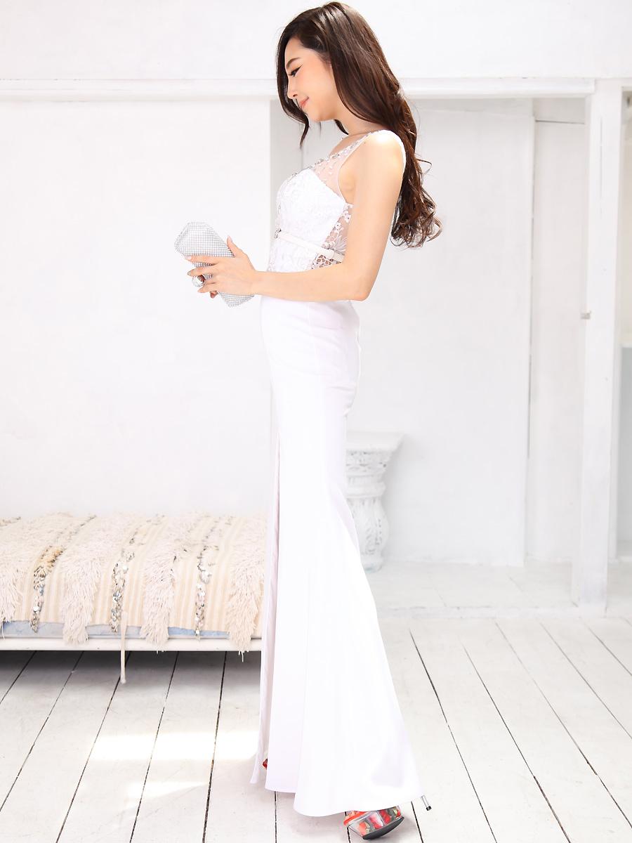 画像2: [Angel R][山崎みどり着用][姉ageha]エレガント・ビジュー×レース刺繍・シースルー・ぺプラム・ベルト付き・Vネック・ノースリーブ・タイト・ロングドレス《送料&代引き手数料無料》